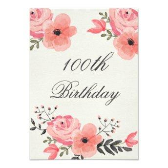 100th Birthday Chic Watercolor Flowers