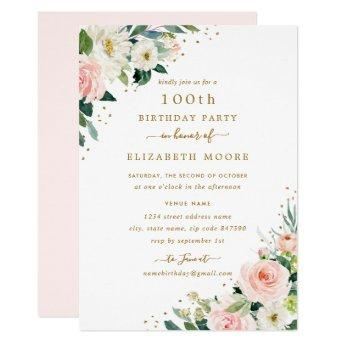 100th Birthday Floral Blush Gold Invitation
