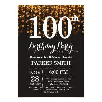 100th Birthday Invitation Gold Glitter