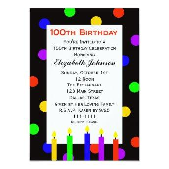 100th Birthday Party  Candles & Dots