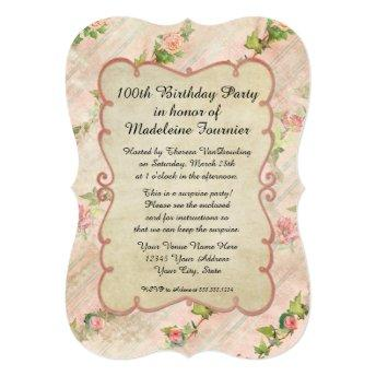 100th Birthday Party Scroll Frame w Vintage Roses