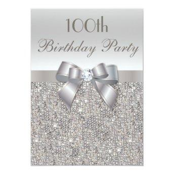 100th Birthday Party Silver Sequins, Bow & Diamond
