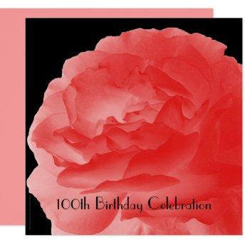 100th Birthday Party Square  Coral Rose