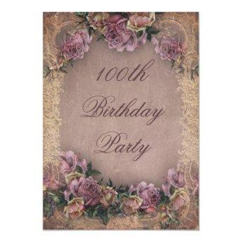 100th Birthday Romantic Vintage Roses and Lace