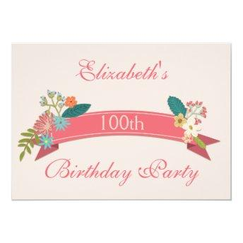100th Birthday Vintage Flowers Pink Banner