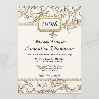 100th Hundredth Glam Old Hollywood Regency Party Invitation