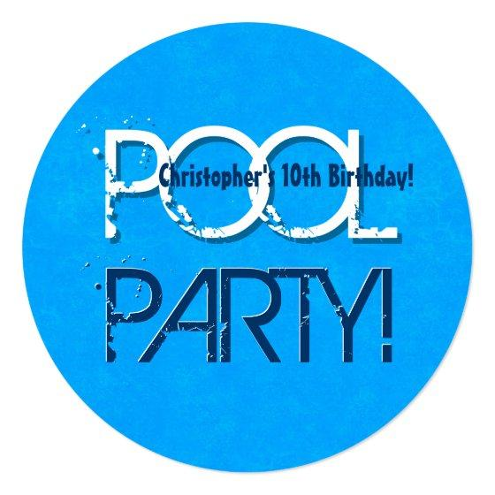 288 10th Ten Birthday Pool Party Save The Date P02Z Invitation