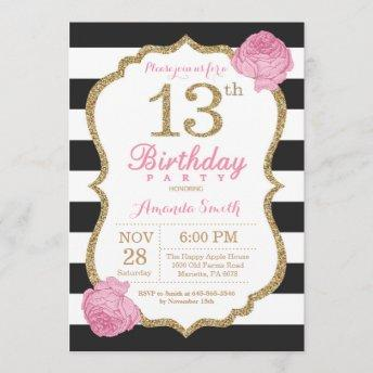 13th Birthday Invitation Pink Black Gold Floral