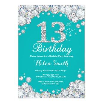 13th Birthday Invitation Teal and Silver Diamond