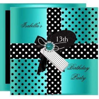13th Birthday Party Polka Dots Teal Blue