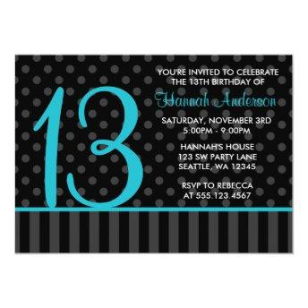 13th Birthday Teal Blue Black Polka Dot Stripes