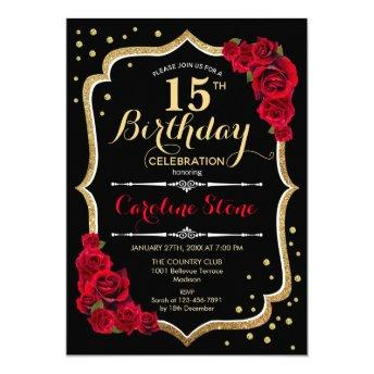 15th Birthday - Black Gold Red Roses Invitation