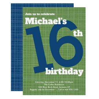 16th Birthday  Blue with Green Accent,