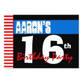 16th Birthday Party Modern Bright Blue Stars 2B2A