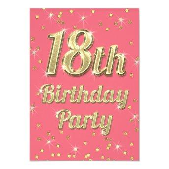 18th Birthday Gold Bling Typography Confetti Pink