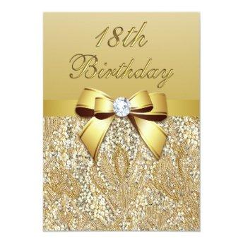 18th Birthday Gold Faux Sequins and Bow