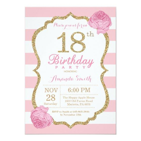 190 18th Birthday Invitation Pink And Gold Floral