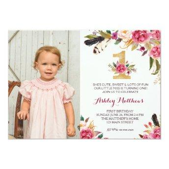 1ST birthday boho feather FIRST Floral