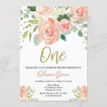 1st birthday girl peach coral floral girl invitation