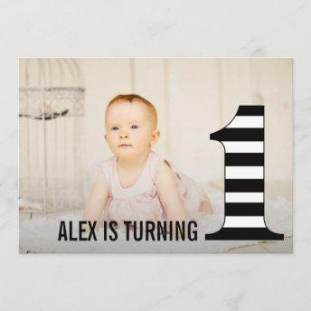 1st Birthday Stripes Number One Photo Invitation