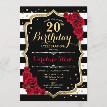 20th Birthday Invitation Black White Stripes Roses