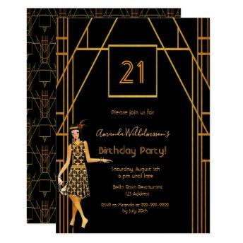 21st birthday black gold Gatsby 1920's art deco Invitation