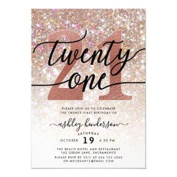 21st Birthday Champagne Glitter Invitation