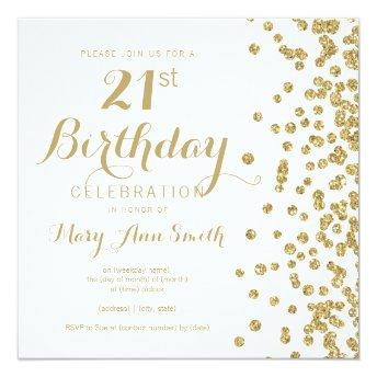 21st Birthday Gold Faux Glitter Confetti White Invitation