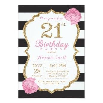21st Birthday Invitation Pink Black Gold Floral