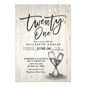 21st Birthday Party Champagne Glasses Wood Lights Invitation