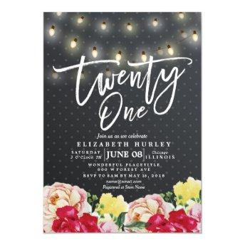 21st Birthday Party Modern Flowers String Lights Invitation