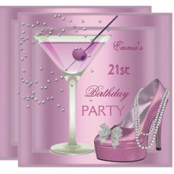 21st Birthday Party Pink Martini High Heel Shoes Invitation
