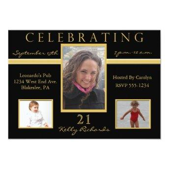 21st Birthday Party Tri Photo Invitation