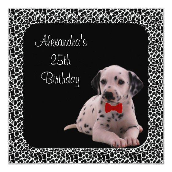 231 25th Birthday Dalmation Animal Print Frame Invitation