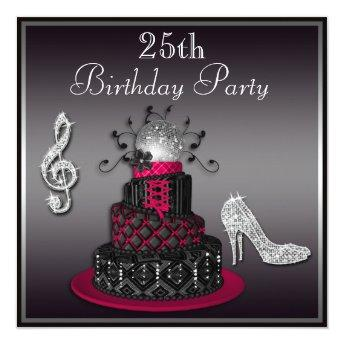 25th Birthday Disco Diva Cake and Heels Hot Pink