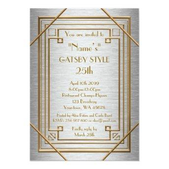25th,Birthday party, Gatsby style, silver & gold Invitation