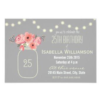 25th Birthday Pink Watercolor Flowers Mason Jar Invitation