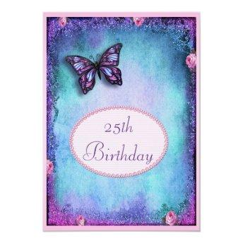 25th Faux Glitter, Butterfly, Roses & Lace