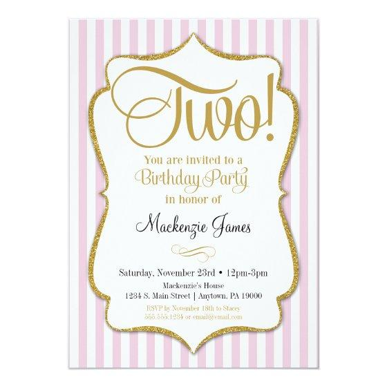 221 2nd Birthday Invitation Girls Two Years Pink Gold