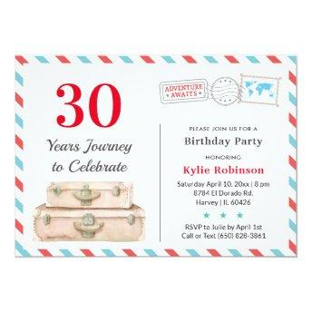30 40 50 Adult Travel Adventure Birthday Party Invitation