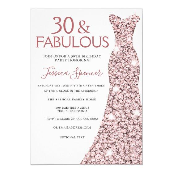 205 30 Fabulous Rose Gold Dress 30th Birthday Party Invitation