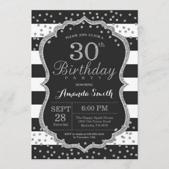 30th Birthday Invitation. Black and Silver Glitter Invitation