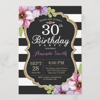 30th Birthday Invitation Women. Floral Gold Black