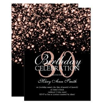 30th Birthday Party Rose Gold Midnight Glam Invitation
