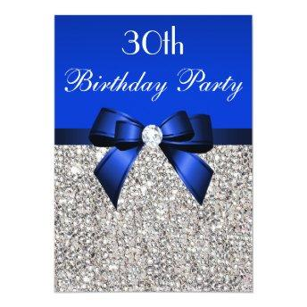 30th Birthday Royal Blue Bow Silver Sequins
