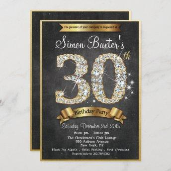 30th Gold Diamond Chalkboard Birthday Invitation
