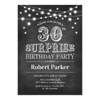 30th Surprise Birthday - Chalkboard Black White Invitation