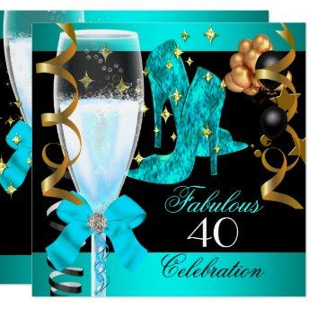 40 Fabulous Teal Blue Gold 40th Birthday Party