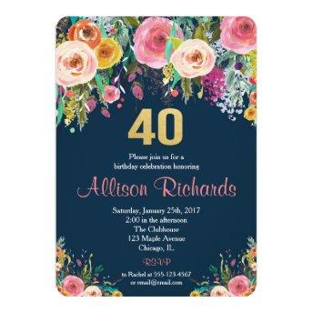 40th birthday  floral watercolor navy