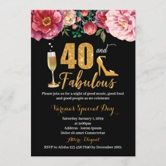 40th Birthday Invitation for Women